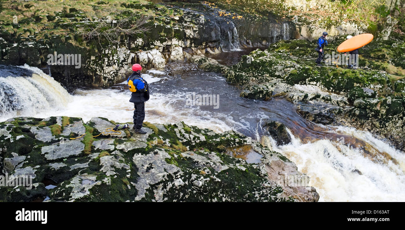 A Grade 4 two-tier drop at Linton Falls, Wharfedale, Yorkshire, England - Stock Image