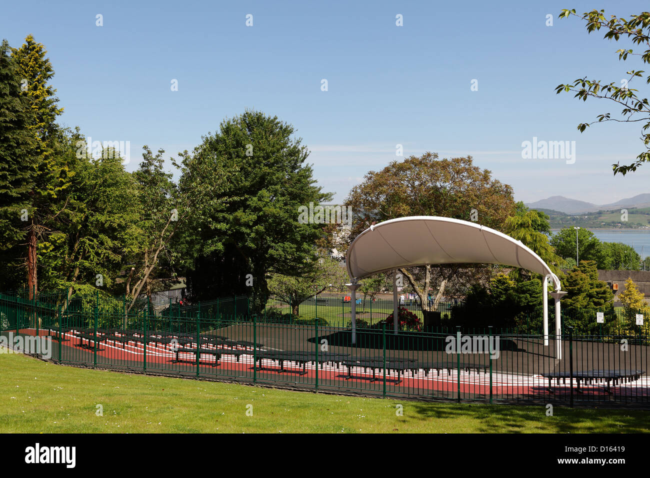 The bandstand in Gourock Public Park in the town of Gourock, Inverclyde, Scotland, UK - Stock Image