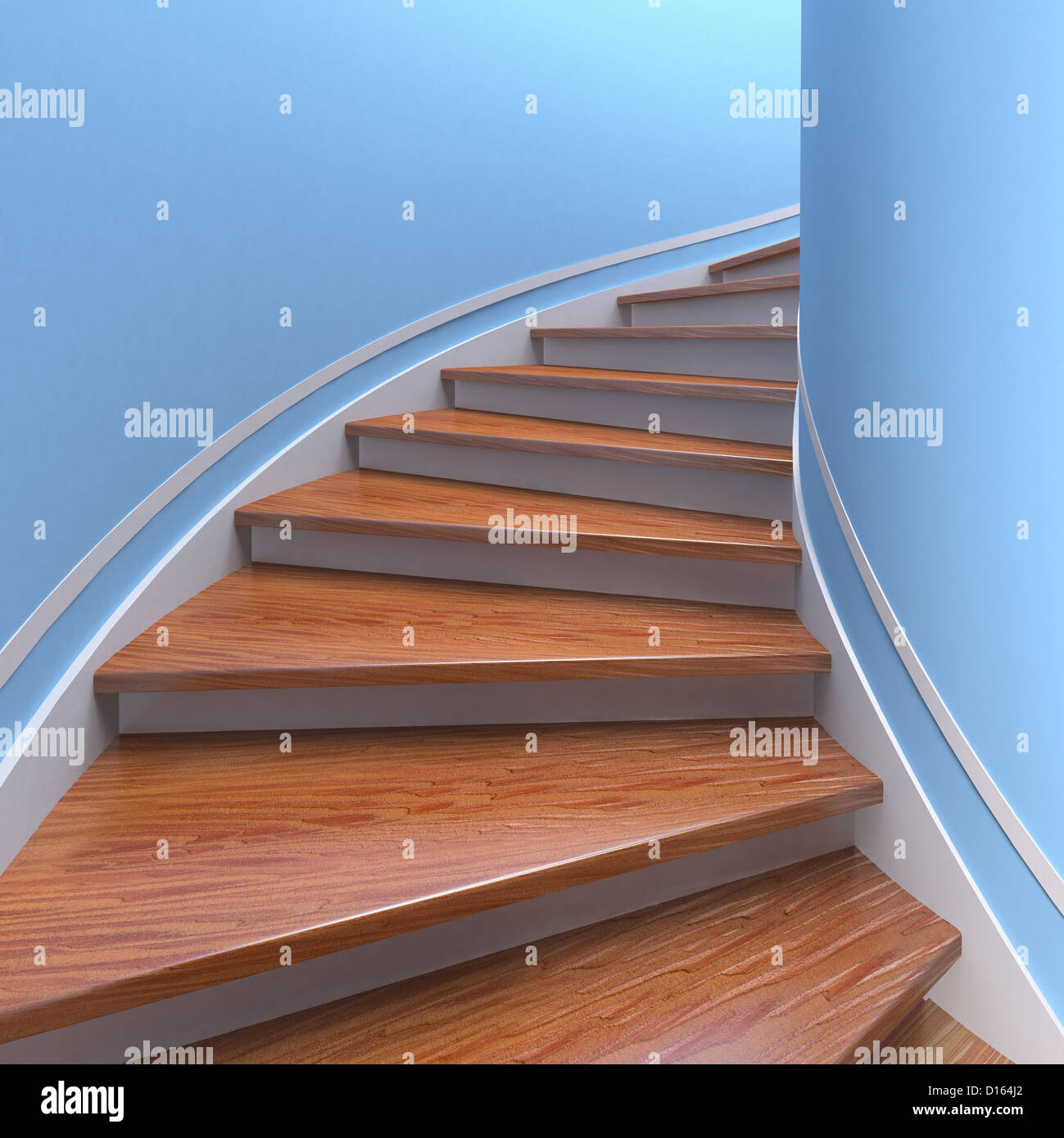 Way up. Three-dimensional spiral wooden staircases. 3d - Stock Image
