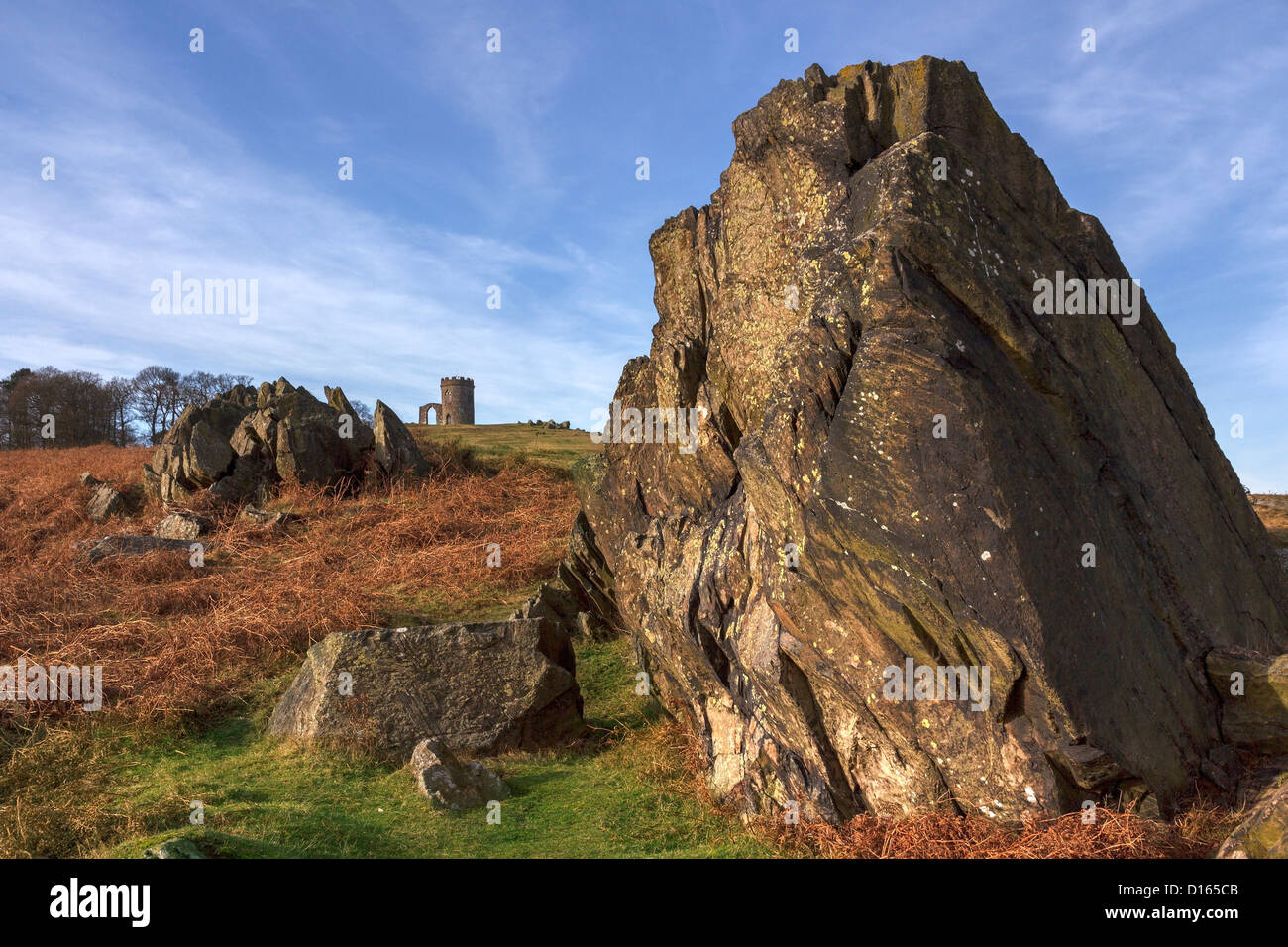 Ancient precambrian rocks and 'Old John' Folly in Bradgate Park, Leicestershire,England, UK - Stock Image