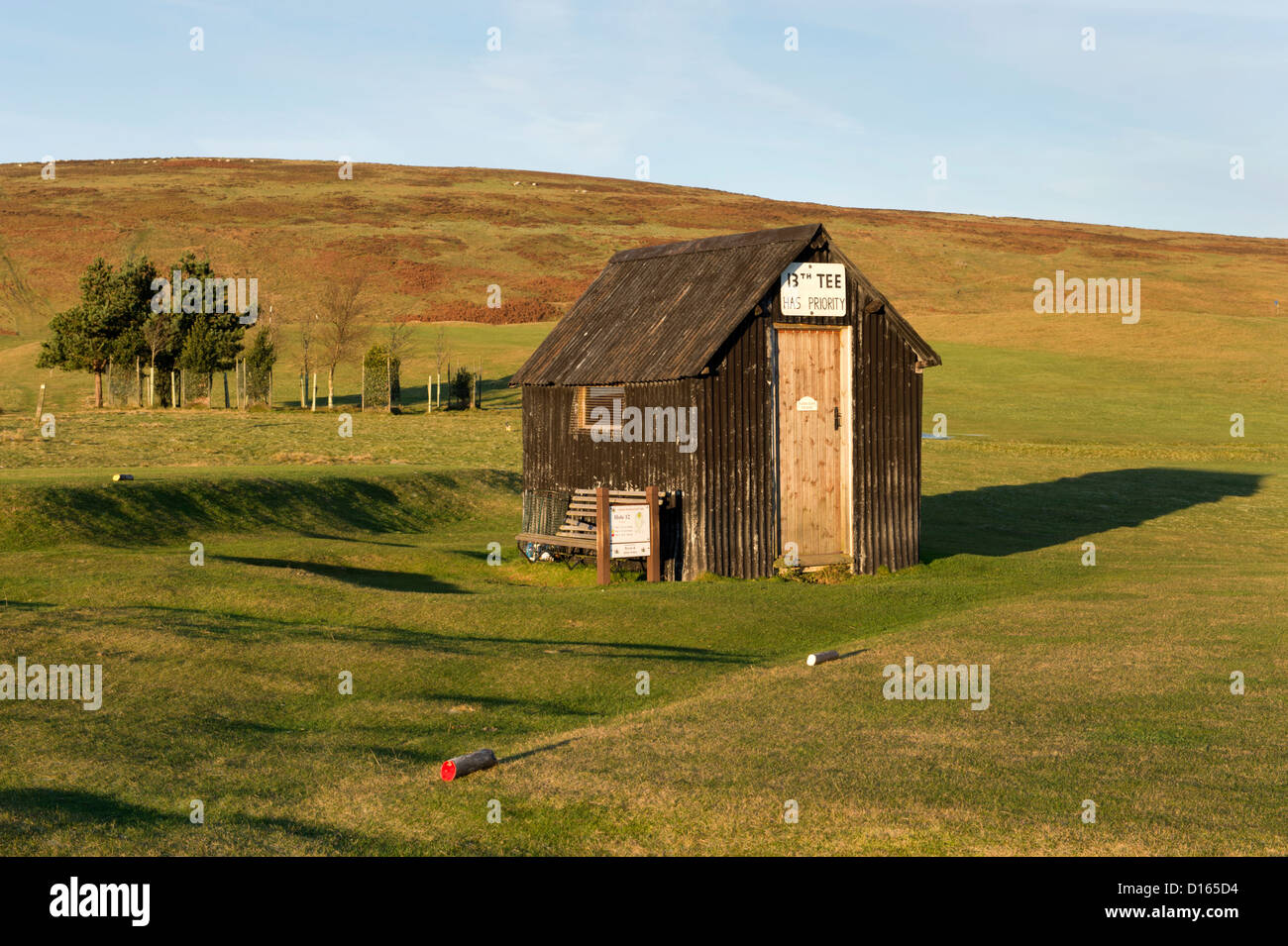 The 13th Tee on the scenic Church Stretton Golf Course, Shropshire. - Stock Image