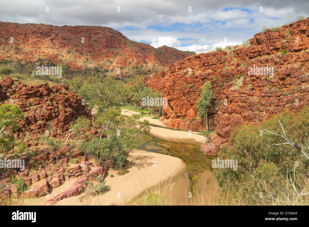 Rugged cliffs in Trephina Gorge in the East MacDonnell Ranges near Alice Springs, Northern Territory in the Red - Stock Image