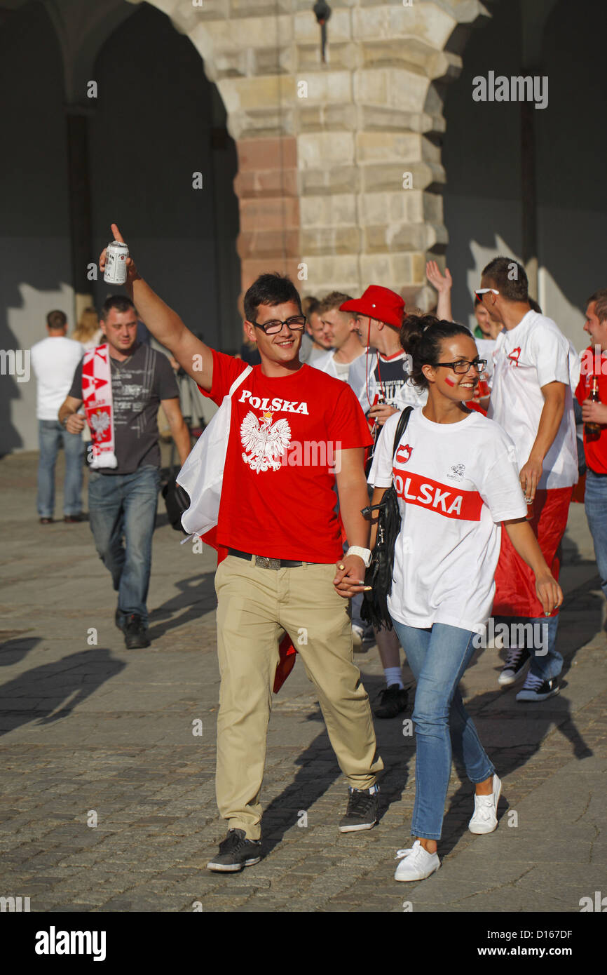 Polish soccer fans, Gdansk, Euro 2012, Poland Stock Photo