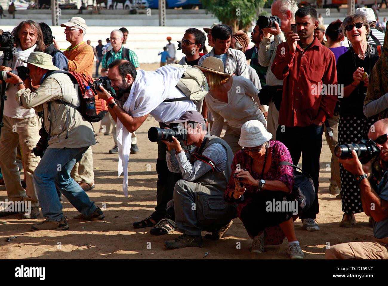 Journalists at Pushkar fair - Stock Image
