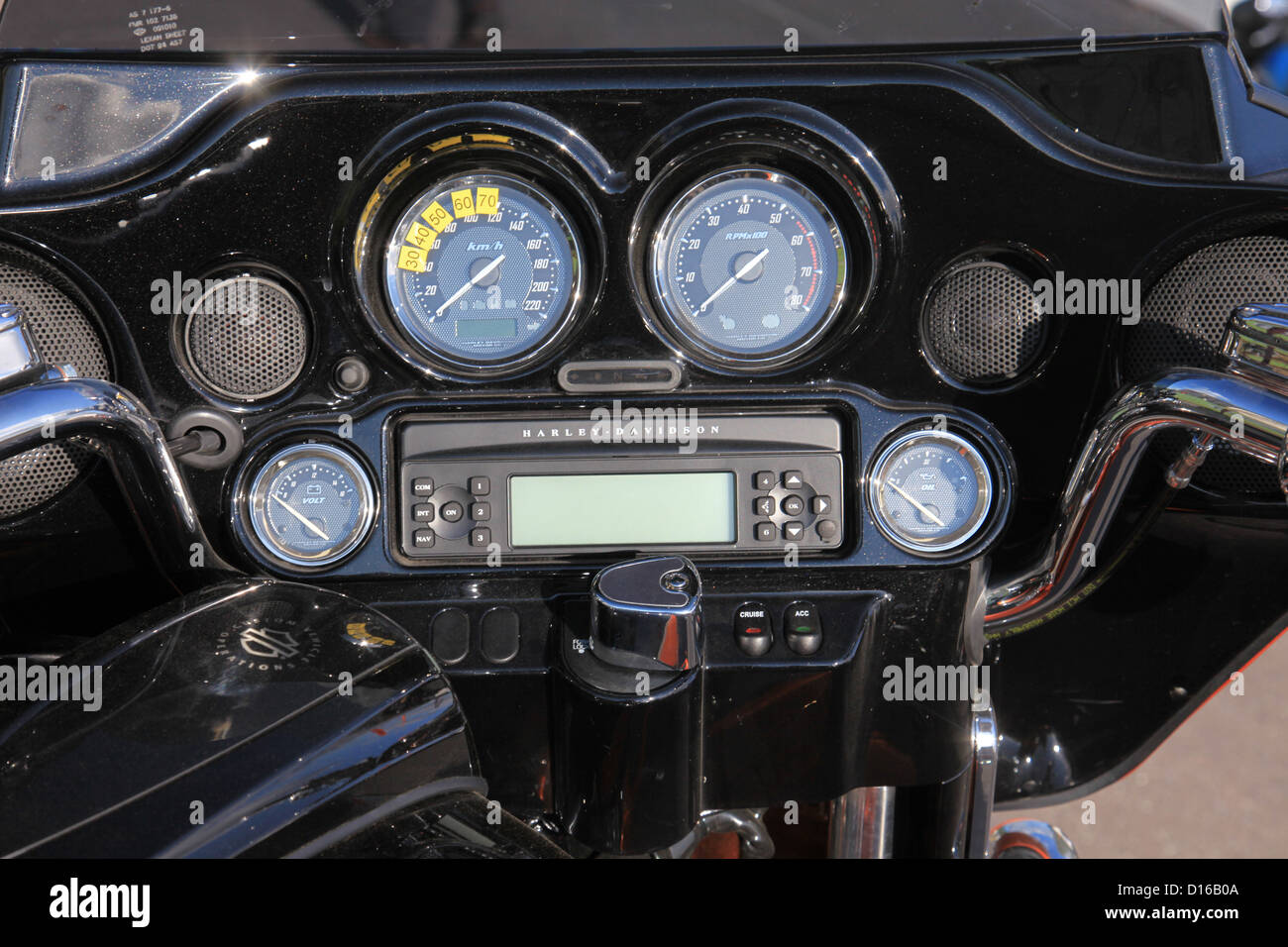close up of dials on a harley davidson motor cycle - Stock Image