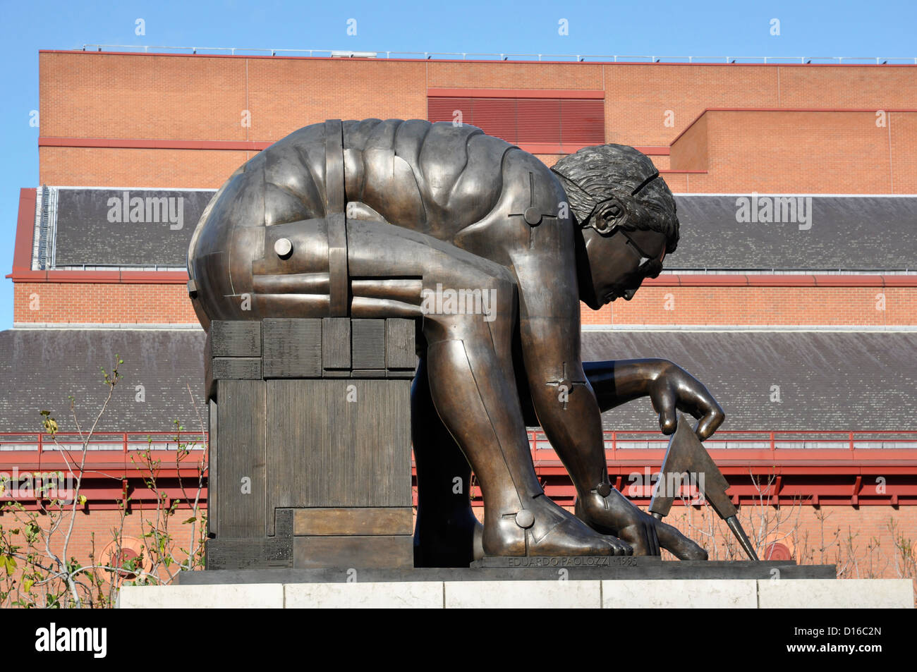 Sir Eduardo Paolozzi's statue of Isaac Newton, British Library, St Pancras, London, England, UK - Stock Image