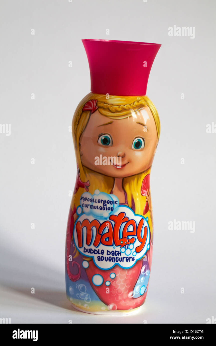 Molly Matey mermaid bottle of hypoallergenic formulation matey bubble bath adventurers set on white background - Stock Image