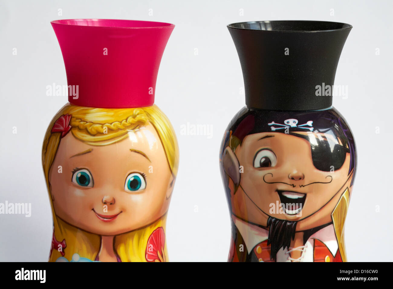 Two bottles of hypoallergenic formulation matey bubble bath adventurers Pegleg pirate and Molly Mermaid set on white - Stock Image
