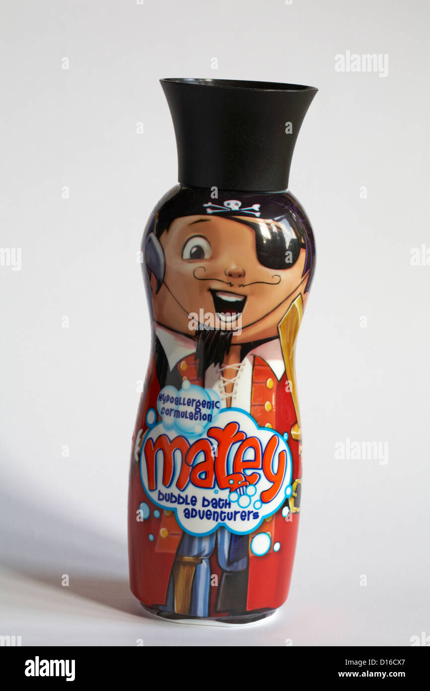 Pegleg Matey pirate bottle of hypoallergenic formulation matey bubble bath adventurers set on white background - Stock Image