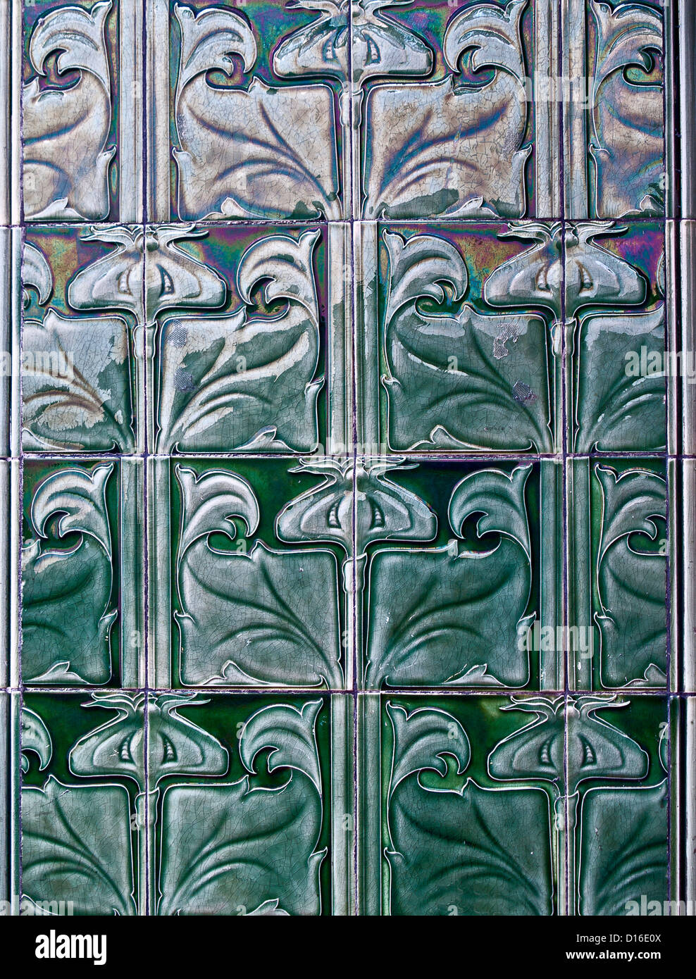 Wall tiles, Victoria Baths, Manchester - Stock Image