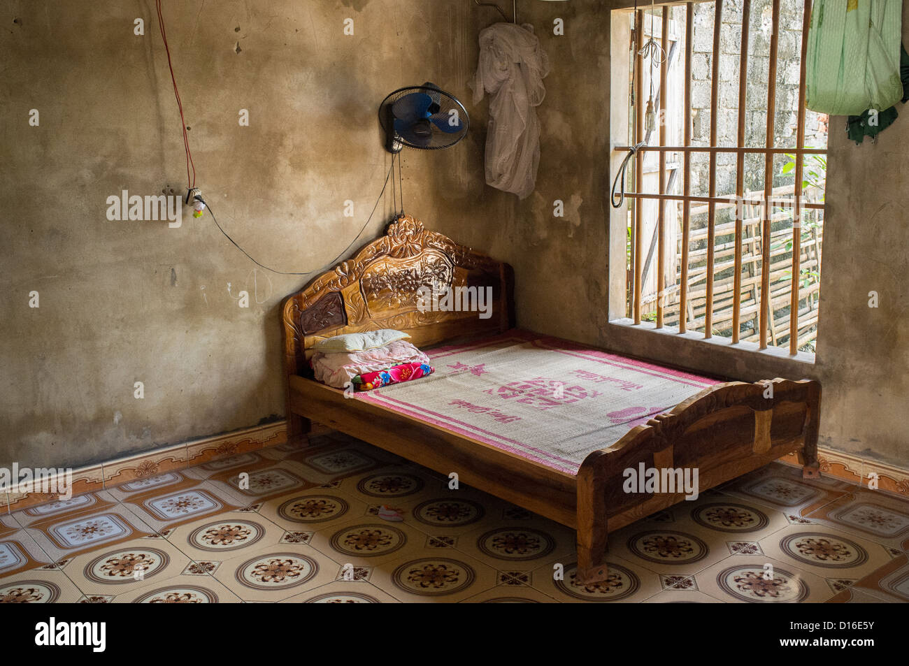 Traditional Wooden Bed In A Vietnamese Home In Kenh Ga Vietnam