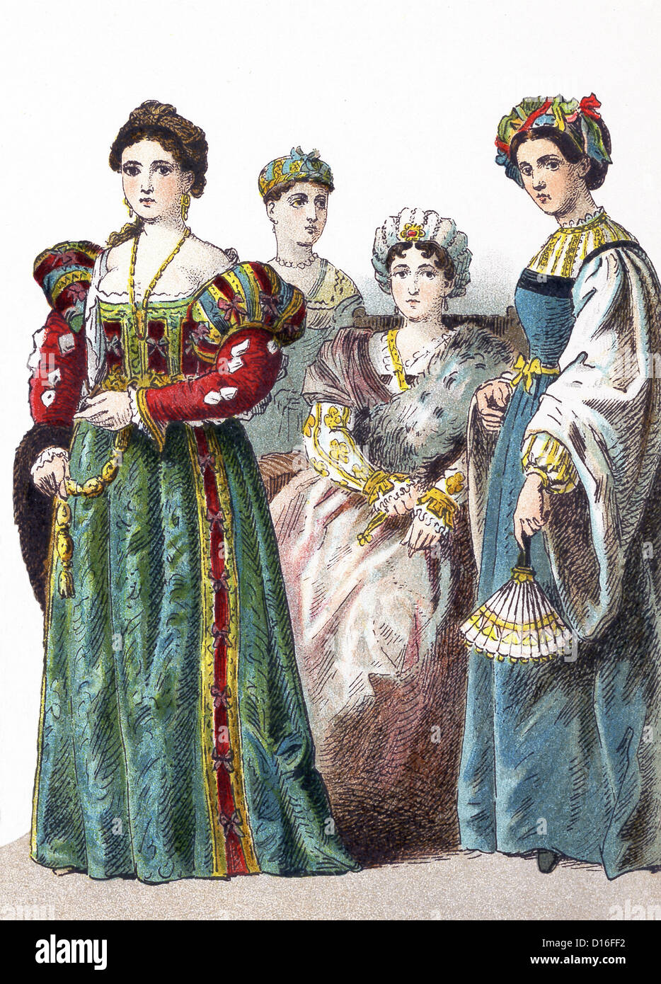 This illustration, which dates to 1882, shows four Italian women between 1500 and 1550. - Stock Image