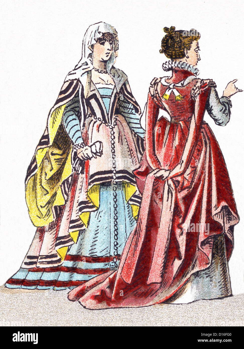 This illustration, which dates to 1882, shows two Italian women between 1500 and 1550. - Stock Image