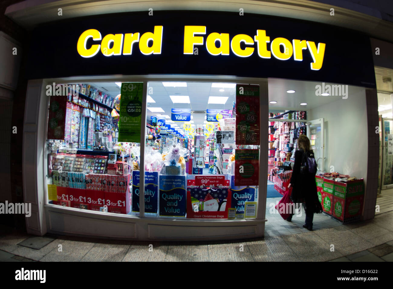 Factory stores stock photos factory stores stock images alamy the card factory gift shop store exterior evening uk stock image negle Image collections