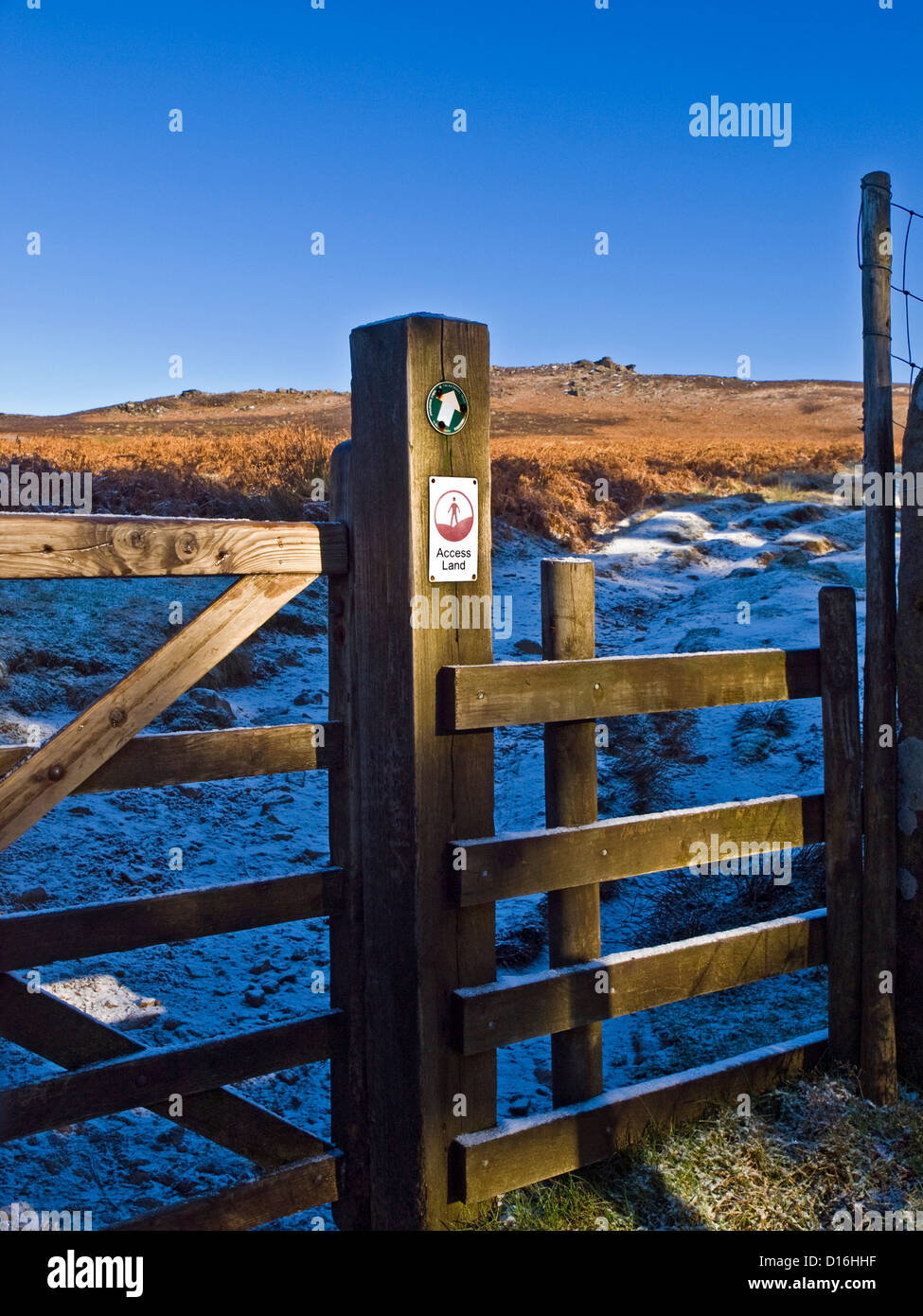 A gate  onto the Access Land on the Derwent Moors in the Peak District - Stock Image