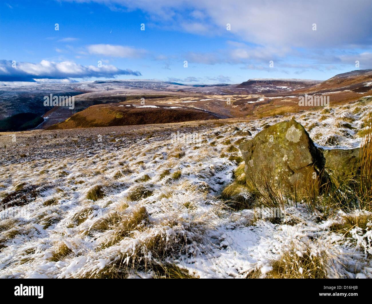 Dark Peak moorland around the Upper Derwent Valley,  Peak District National Park, winter - Stock Image