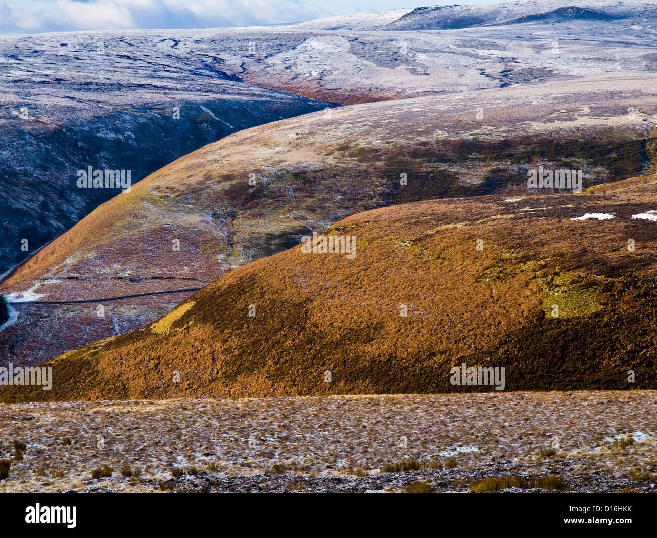 Dark Peak moorland around the Upper Derwent Valley, Peak District National Park - Stock Image