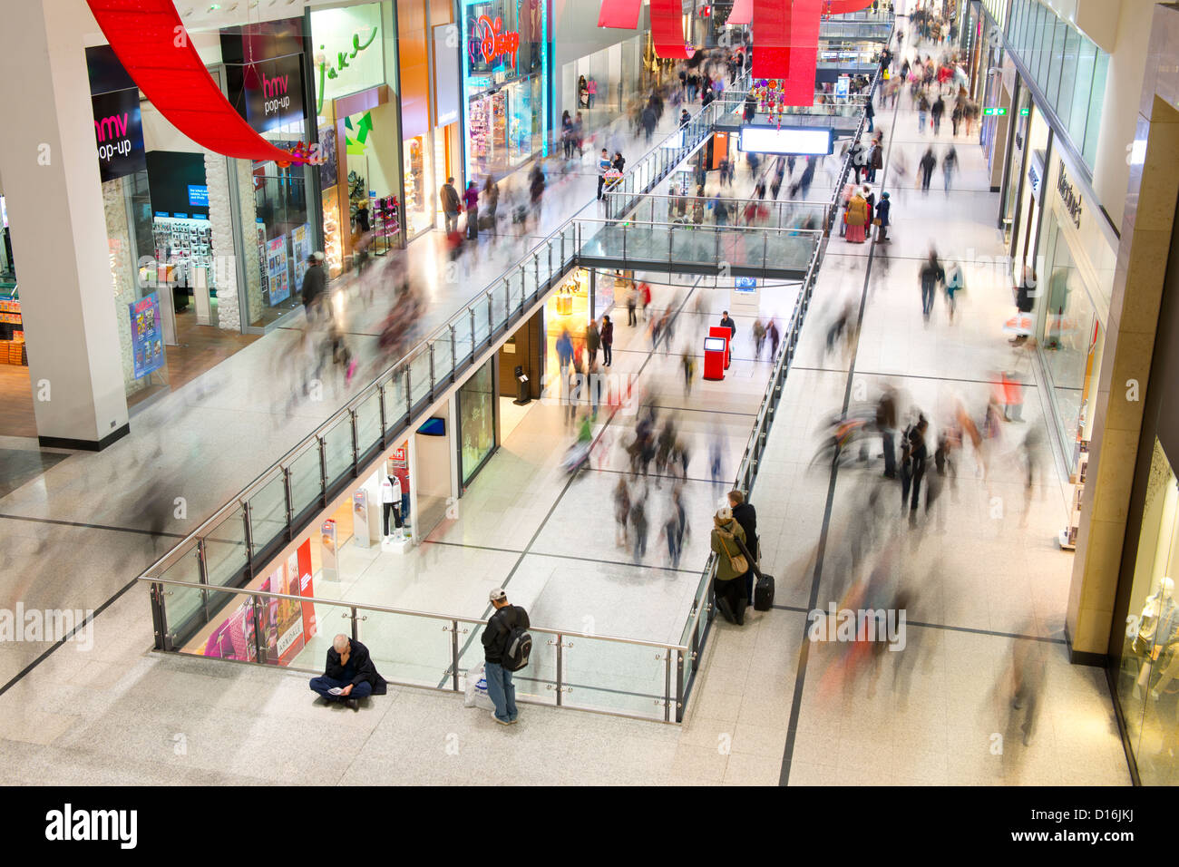 An internal shot of Manchester Arndale shopping centre during the Christmas lead up period. - Stock Image