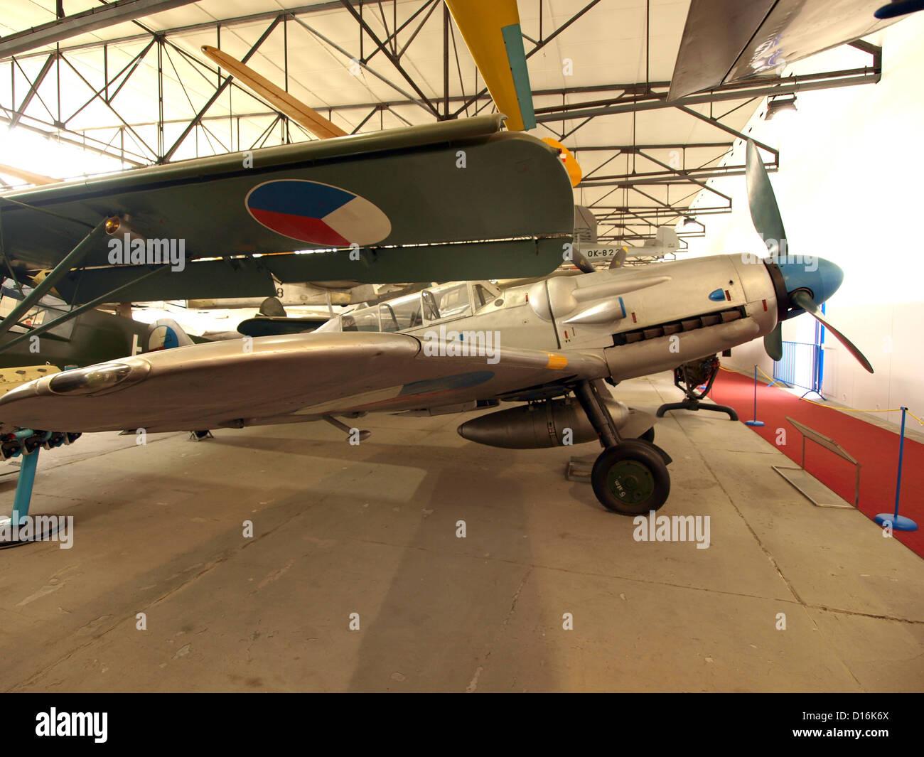 Aircraft in the Prague Aviation Museum, Kbely.Avia CS-199 (UC-26) (Czech version of Messerschmitt Bf 109G-12 - Stock Image