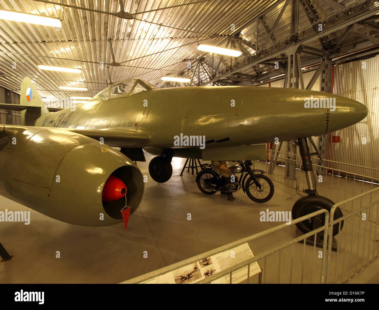 Aircraft in the Prague Aviation Museum, Kbely.Avia S-92 V-34 (Czechoslovak-made Messerschmitt Me 262A), - Stock Image