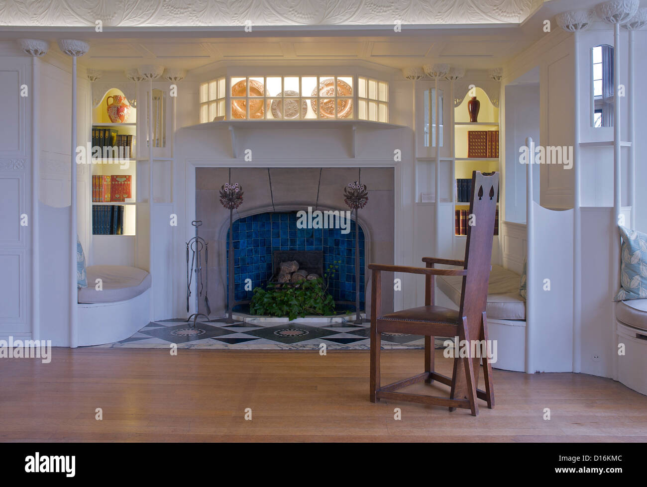 Fireplace In Blackwell Arts And Crafts House Overlooking Lake