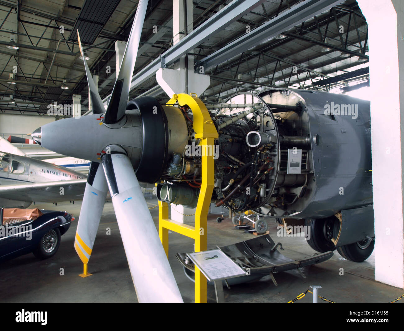 Museum of Aviation and Technology Wernigerode.Rolls-Royce Tyne turboprop engine of a Breguet Atlantique - Stock Image