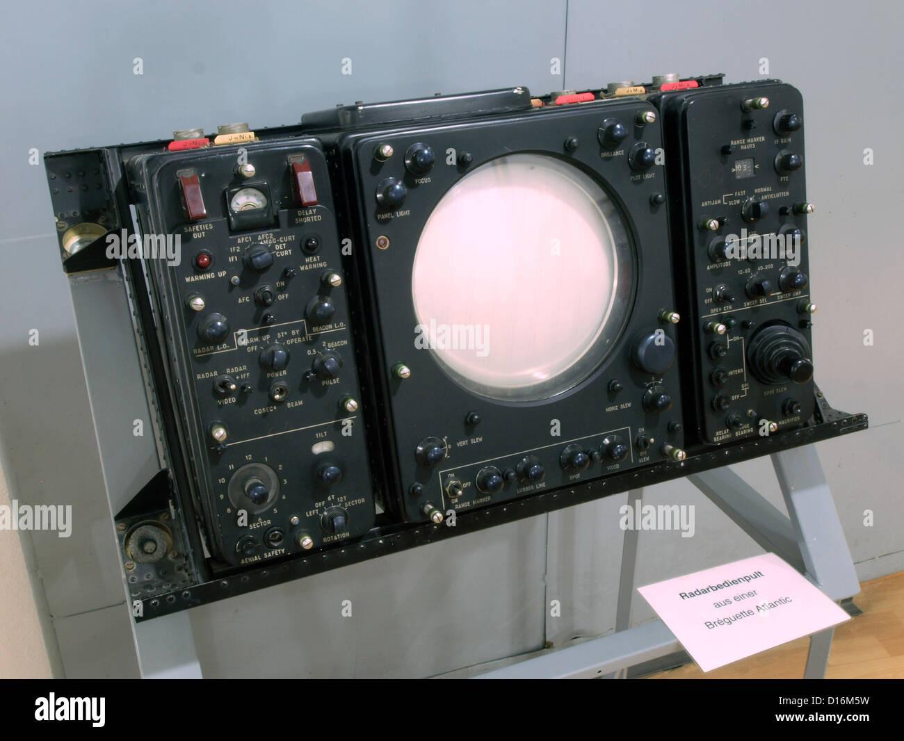 Museum of Aviation and Technology Wernigerode.Radar scope panel of a Breguet Atlantique - Stock Image