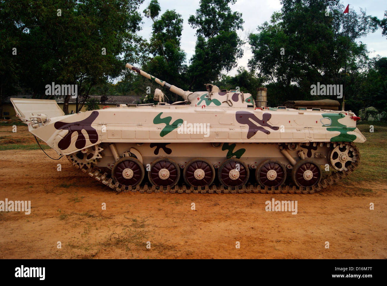 Indian Army Battle Tank resting at the Military Base in South India - Stock Image