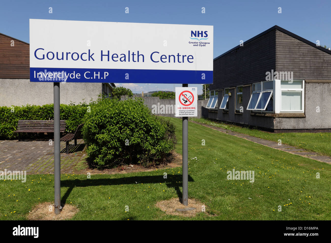 Gourock Health Centre sign, Inverclyde, Scotland, UK - Stock Image