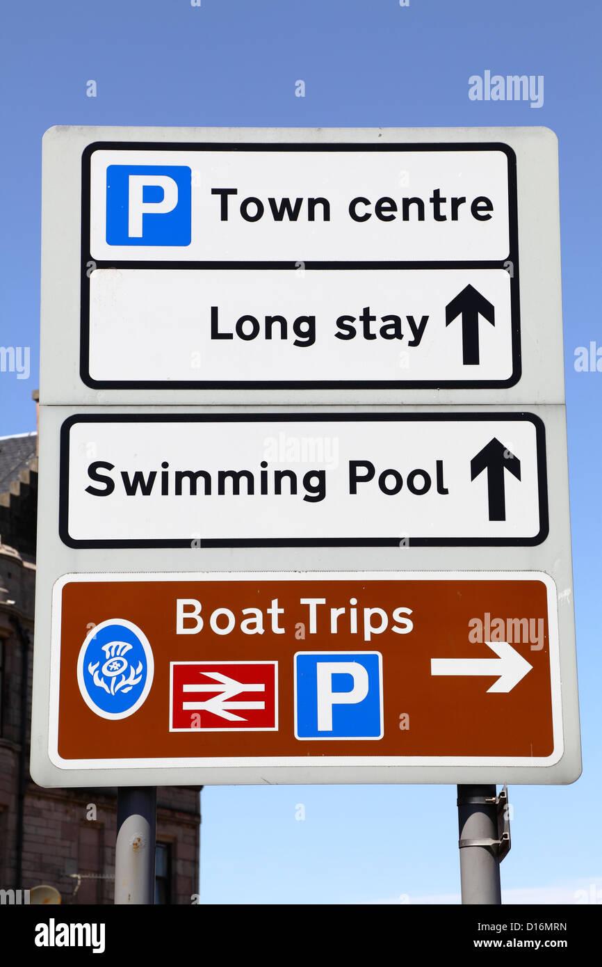 Road direction sign, Scotland, UK - Stock Image
