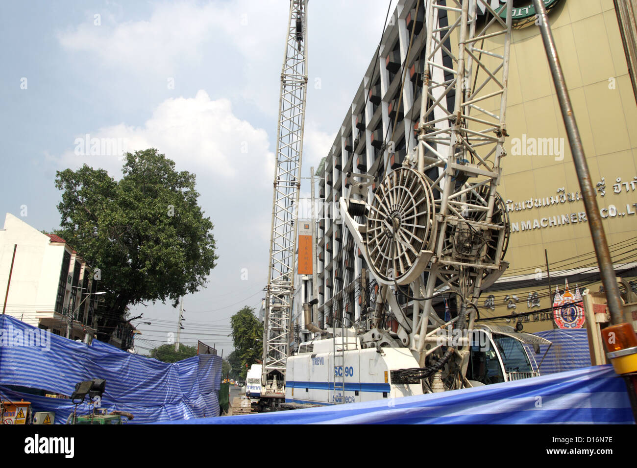 Bucket excavators at MRT construction site in Bangkok , Thailand - Stock Image
