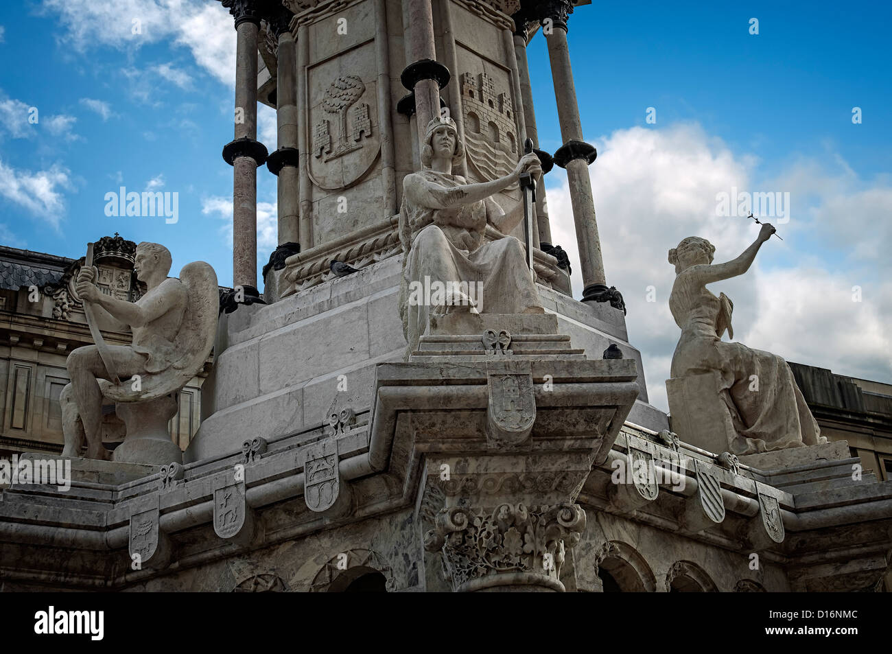 Monument to the Fueros of Navarra in the city of Pamplona, Spain, Europe - Stock Image