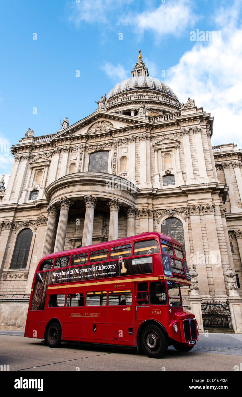 Double decker red bus London England Great Britain UK - Stock Image