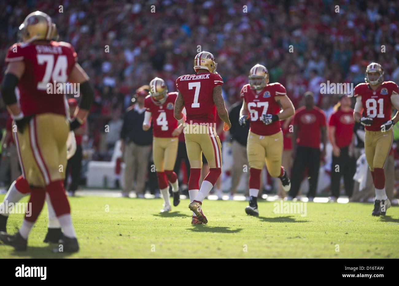 Dec. 9, 2012 - San Francisco, CA, USA - San Francisco 49ers quarterback Colin Kaepernick (7) walks off the field - Stock Image