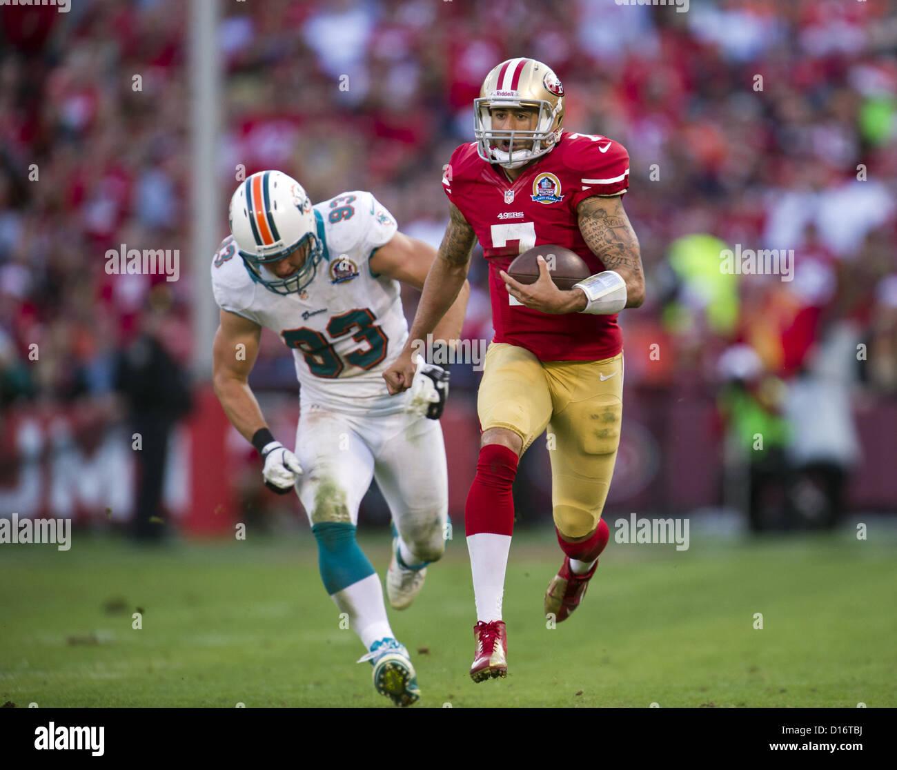 Dec. 9, 2012 - San Francisco, CA, USA - San Francisco 49ers quarterback Colin Kaepernick (7) runs 50 yards for a - Stock Image