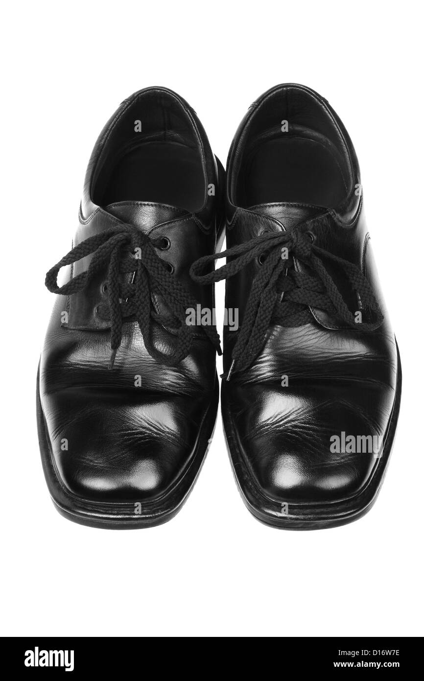433b46f9 Men's Black Leather Shoes on White Background Stock Photo: 52397282 ...