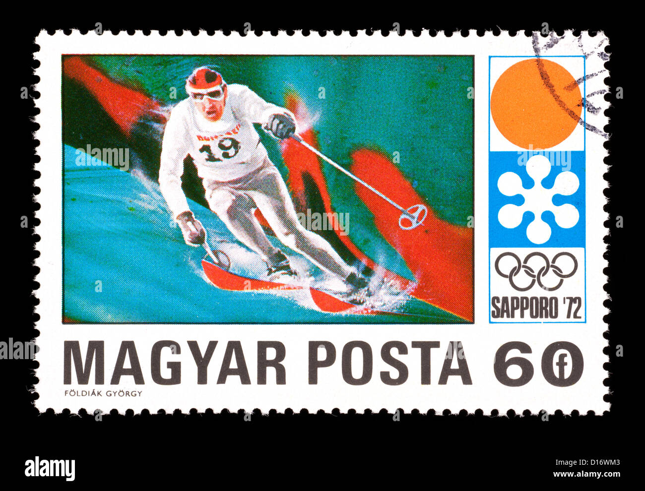 Postage stamp from Hungary depicting a downhill skier, issued for the 1972 Winter Olympic Games in Sapporo, Japan. Stock Photo