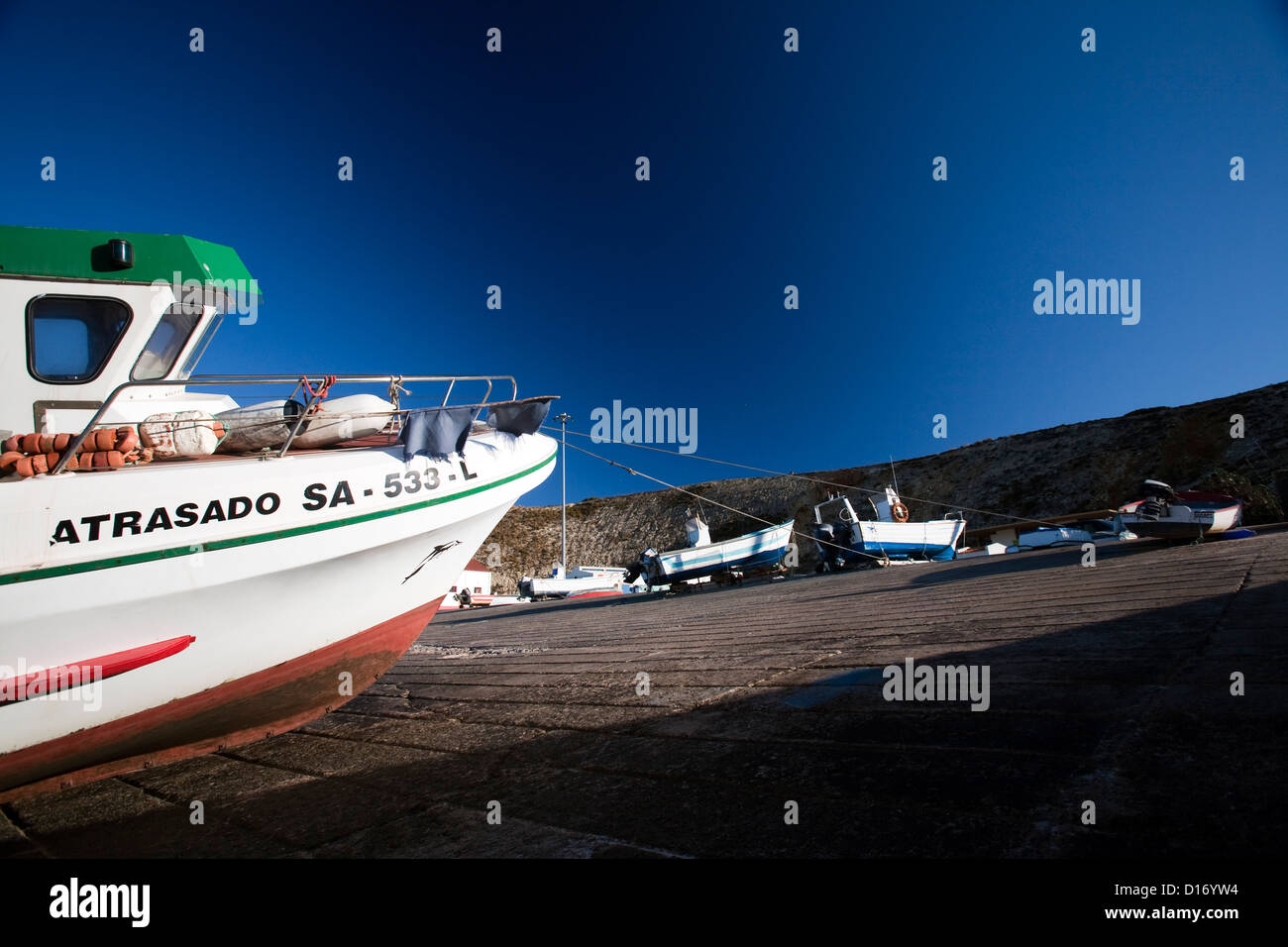 Sagres, Portugal, launches on a slipway - Stock Image