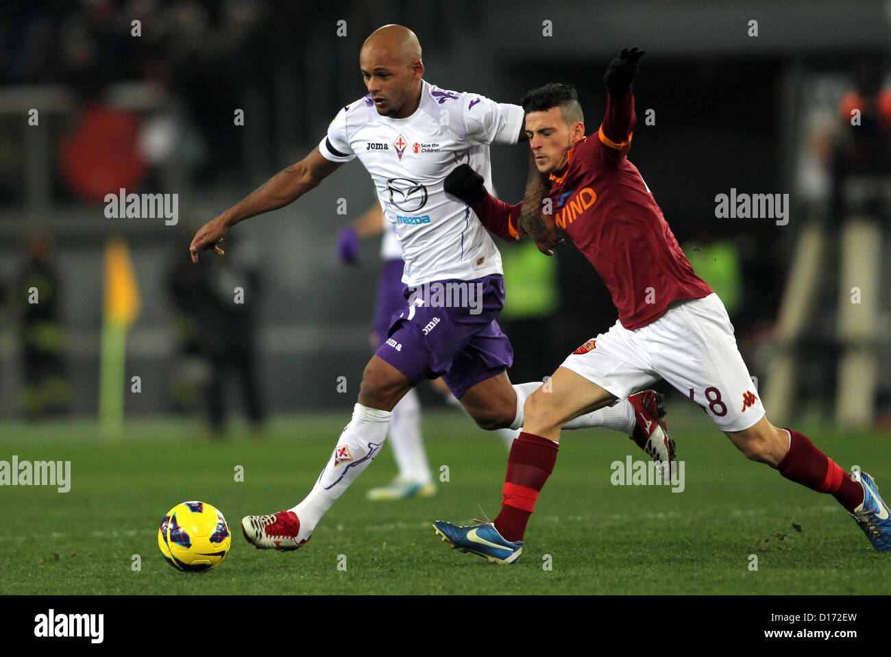 09.12.2012 Rome, Italy. Florenzi and Ruben Olivera during the Italia League game between Roma and Fiorentina from - Stock Image