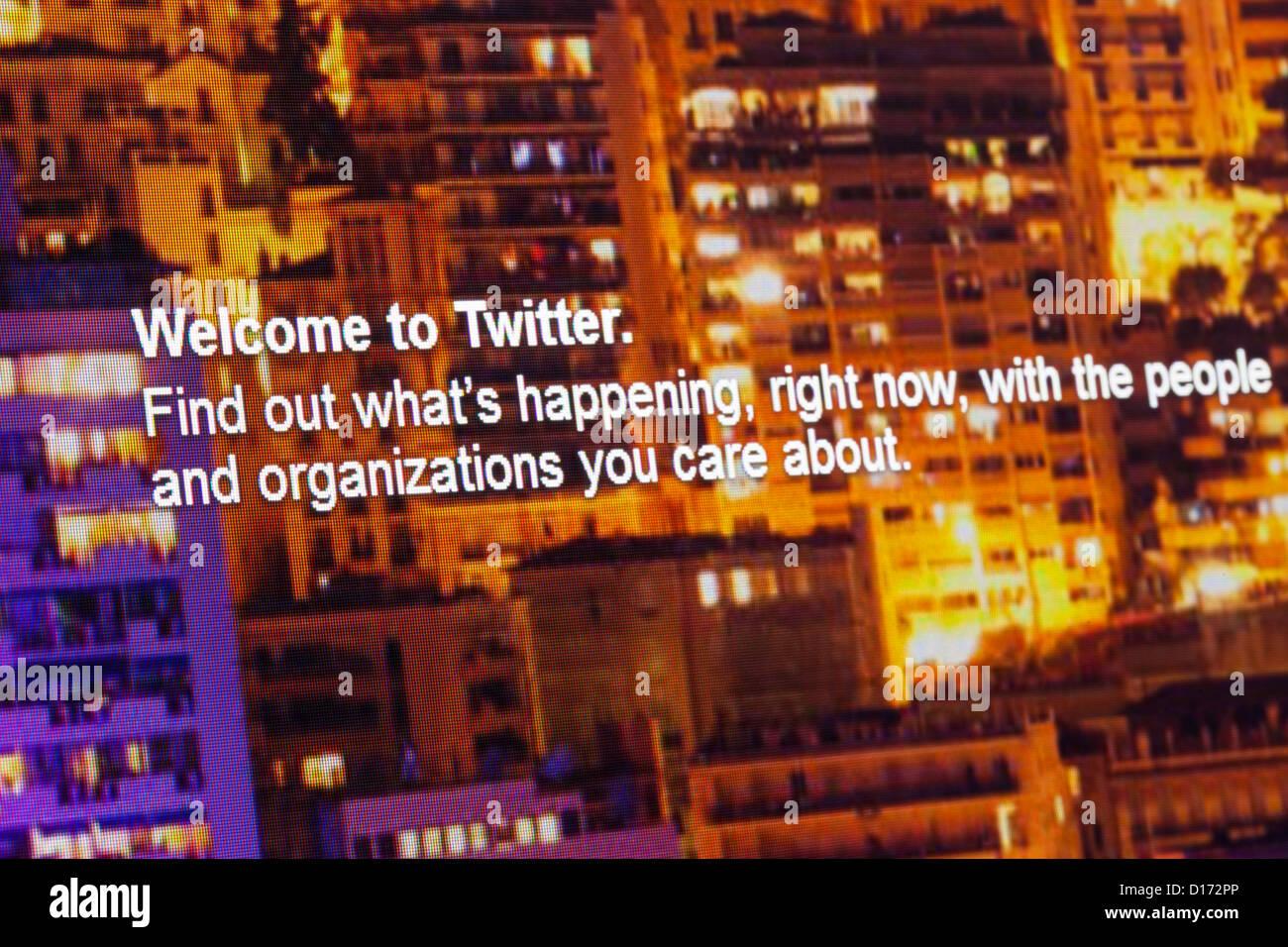 Screenshot of the twitter website - Stock Image