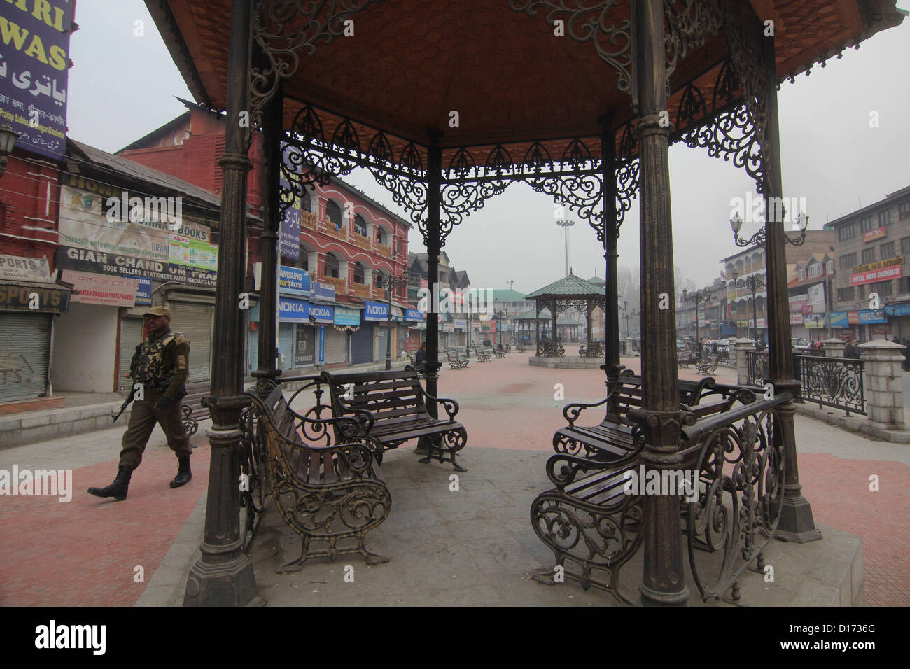 Dec. 10, 2012 - A seen of empty marke tduring  strick  to mark the International Human Rights Day in Srinagar, the - Stock Image