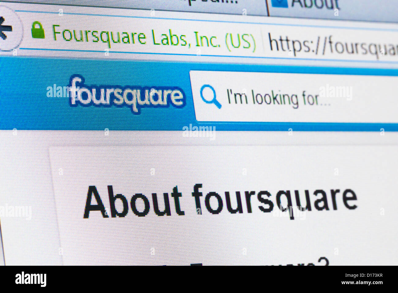 Screenshot of the foursquare homepage - Stock Image