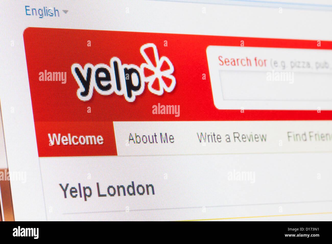 Screenshot of the yelp homepage - Stock Image