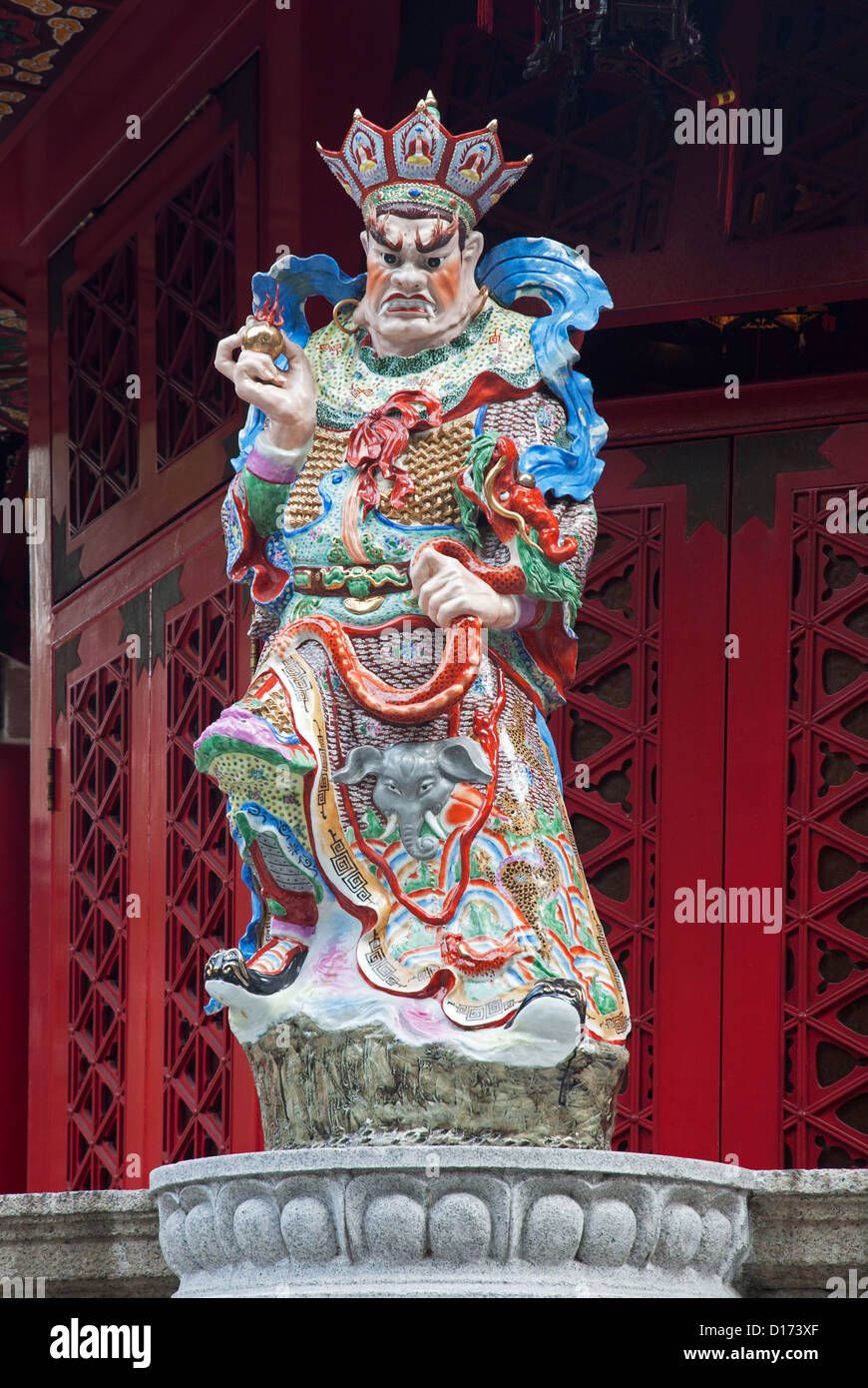 A statue decorates the Wong Tai Sin Temple. Also known as Sik Sik Yuen Wong Tai Sin Temple, is a Taoist Temple Hong - Stock Image