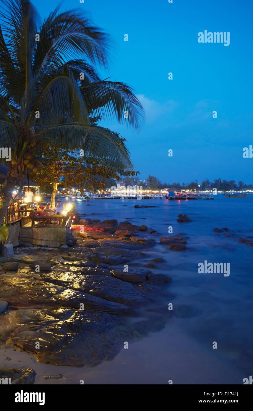 Ochheuteal Beach at dusk, Sihanoukville, Cambodia - Stock Image