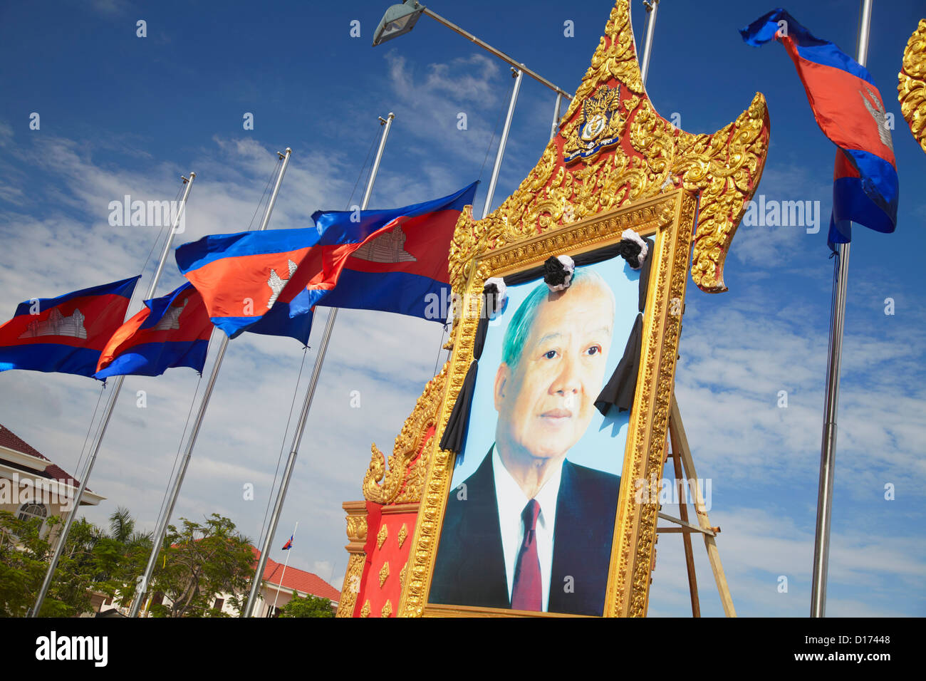 Memorial to the late King Norodom Sihanouk, Phnom Penh, Cambodia Stock Photo