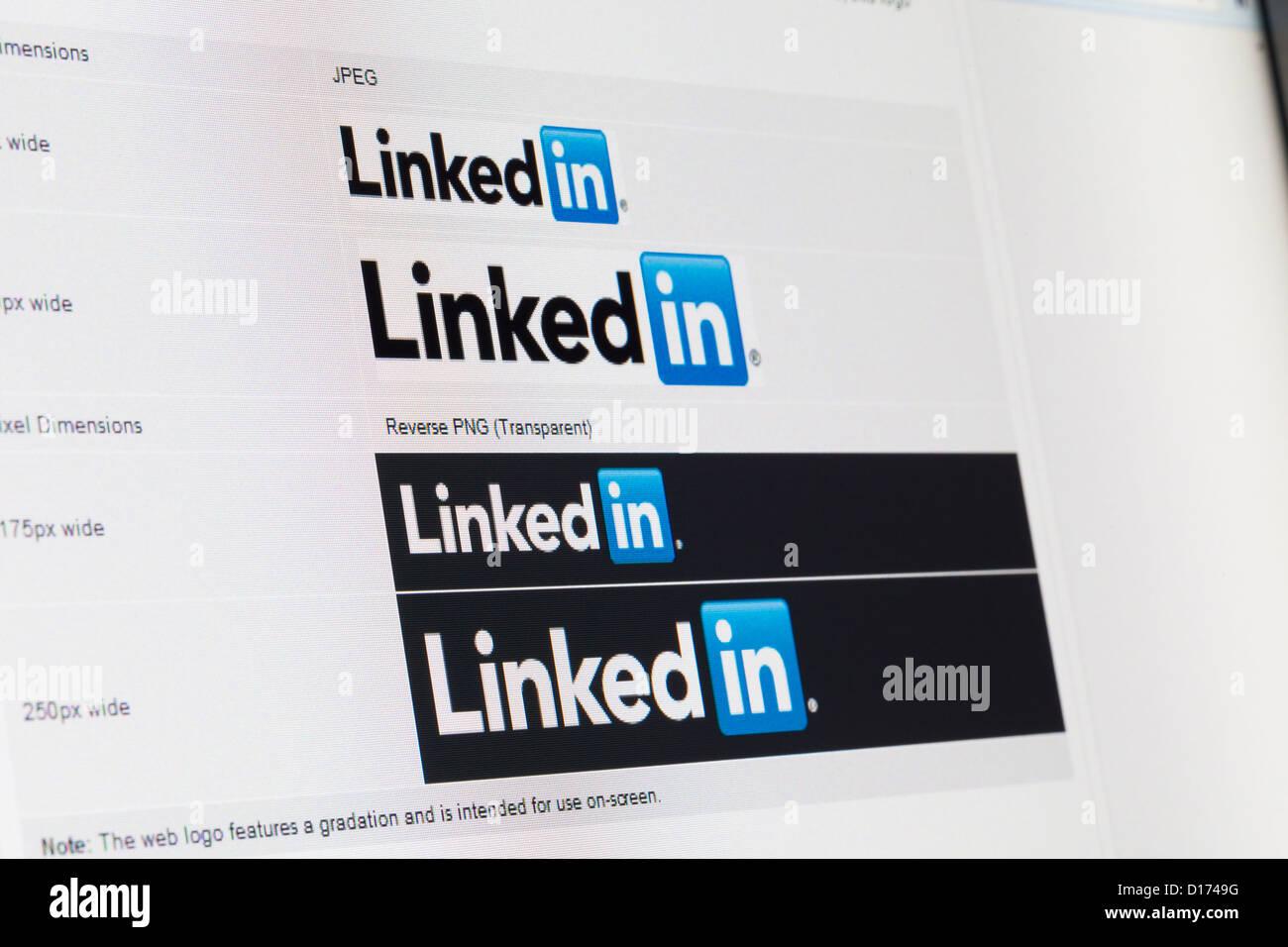 Screenshot of linkedin website - Stock Image