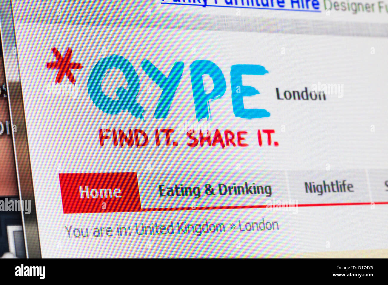 Screenshot of the qype homepage - Stock Image
