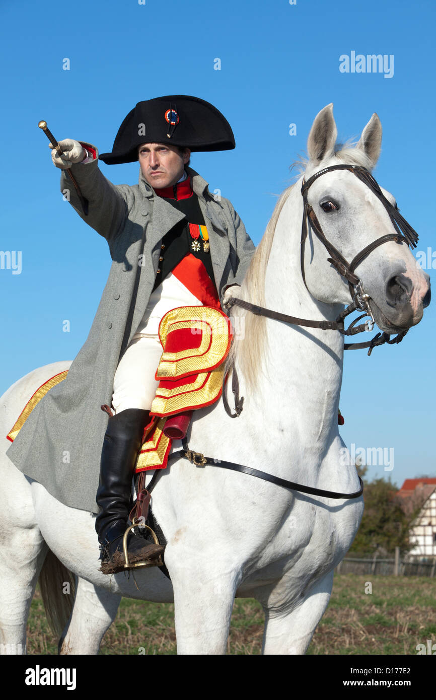 Napoleon Bonaparte commanding his troops at the Battle of Jena-Auerstedt in Germany - Stock Image