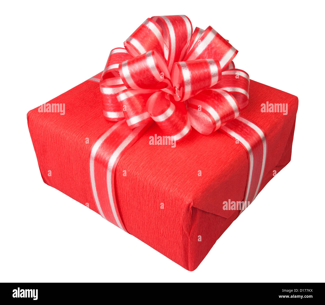 gift box present red on white background - Stock Image